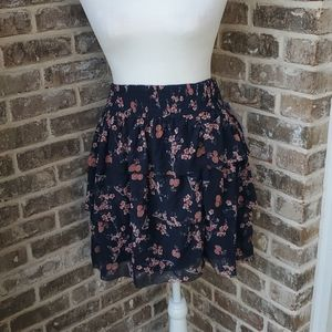 Mexx Floral Tiered Sheer Lined Elastic Waist Skirt